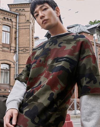 秋男休闲时尚迷彩潮圆领假两件长袖套头卫衣219333508