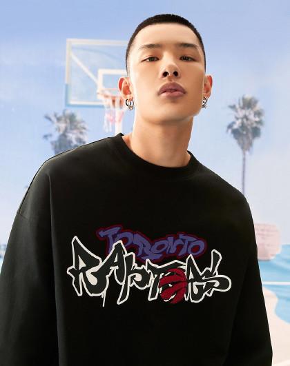 杰克琼斯NBA联名猛龙球队潮休闲运动标准版型圆领卫衣