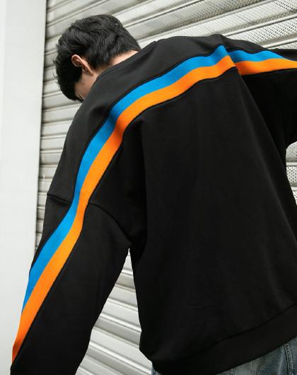 杰克琼斯2021秋装新品纯棉情侣黑色时尚条纹宽松潮流大码卫衣