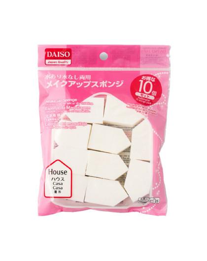 大创 【2件起售】DAISO大创 干湿两用化妆海绵粉扑 屋形/五角形 定妆修容