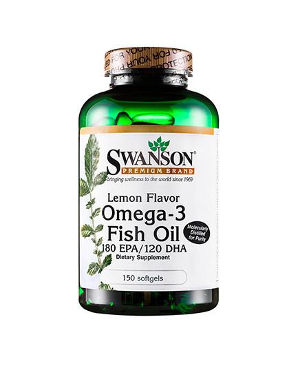 【美国鱼油爸妈常备】斯旺森柠檬味欧米伽-3脂肪酸鱼油软胶囊150粒美国原装进口