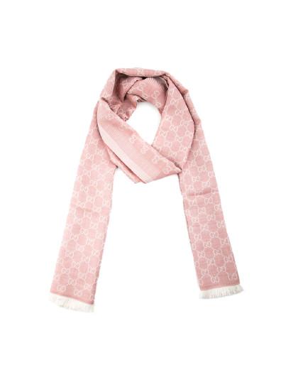 GUCCI 古驰女款围巾 双G格纹印花 羊毛加丝绸保暖防寒御冷披肩