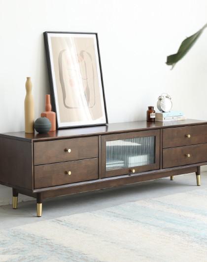 实木电视柜茶几组合现代简约客厅家用北欧简易小户型实木电视机柜
