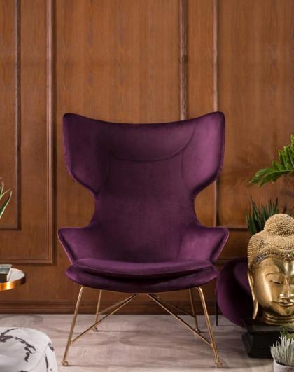 美达斯 PERSIRE北欧客厅公主风单人沙发椅现代简约铁艺时尚高背椅