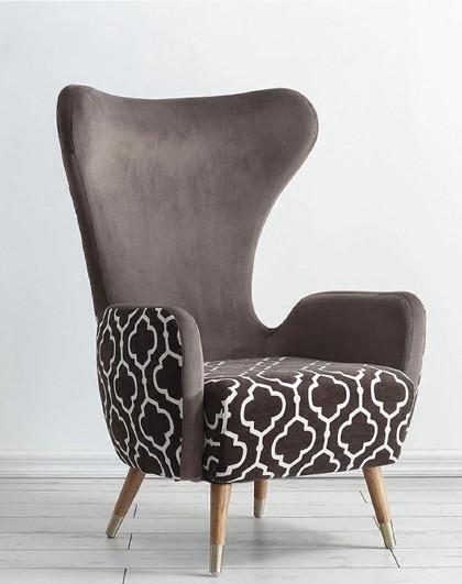 美达斯 北欧风格高背公主沙发椅单人现代时尚布艺休闲老虎凳