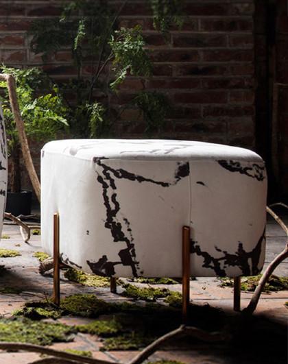 美达斯 PERSIRE 新中式创意布艺客厅换鞋凳卧室家用小矮凳金属脚踏