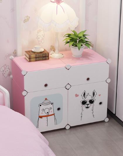蔻丝 出租房专用简易床头柜便宜小型卧室收纳储物柜儿童置物架卡通女孩