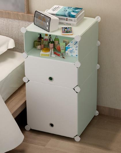蔻丝 简易床头柜简约现代塑料组装多功能小柜子储物柜仿实木床头柜