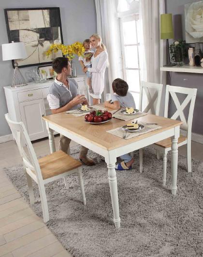 生活诚品 餐桌实木五件套进口地中海餐桌现代简约北欧家用饭桌