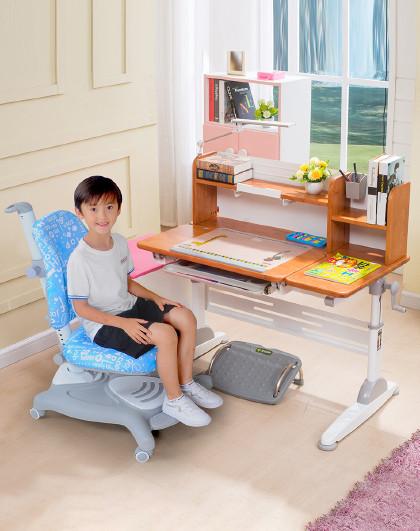 生活诚品 实木儿童书桌学习桌椅套装学生大号书桌课桌椅写字桌椅组合1.1米