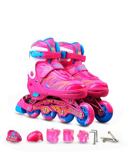 HUOBAN 轮滑鞋溜冰鞋儿童高弹耐磨PU闪光轮男女直排轮可调套装溜冰鞋