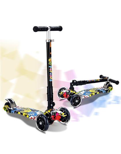 HUOBAN 儿童滑板车1-3-6岁宝宝踏板玩具车12岁小孩单脚滑滑车闪光溜溜车