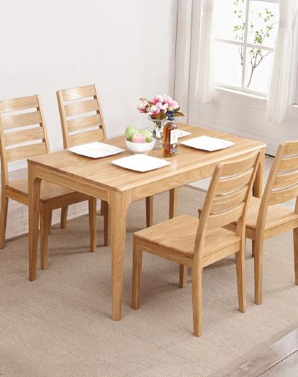 华谊 日式全实木餐桌椅组合橡木小户型餐厅家具1.3米1.5米客厅饭桌
