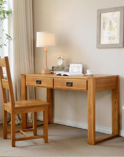 华谊 实木两抽书桌北欧简约橡木家用学习桌电脑桌写字台书房家具