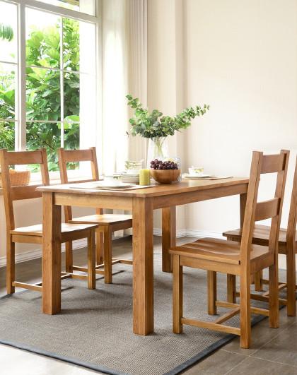 华谊 全实木餐桌椅组合1.6米白橡木一桌四椅子1.2m小户型餐厅家具
