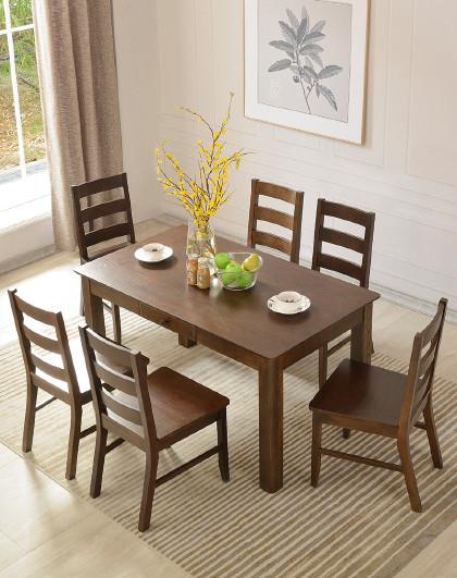 华谊 实木餐桌环保简约黑胡桃色现代美式餐桌橡木长饭桌餐厅家具