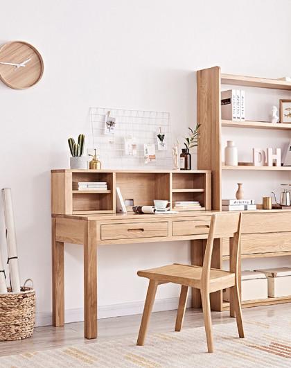 华谊 实木书桌书房家具套装组合橡木电脑桌写字台现代简约办公桌