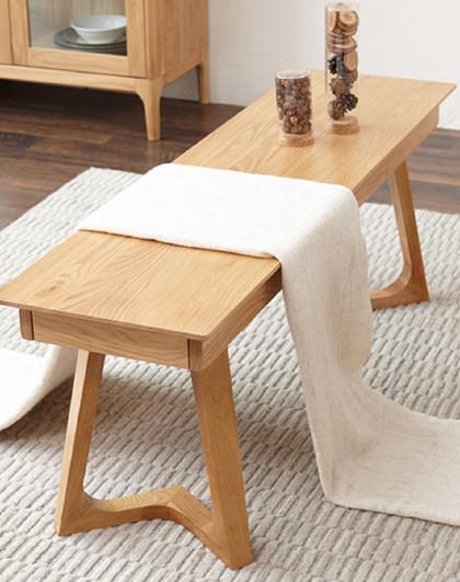 华谊 北欧纯实木长条凳餐桌椅进口白橡木现代简约床尾凳餐厅家具