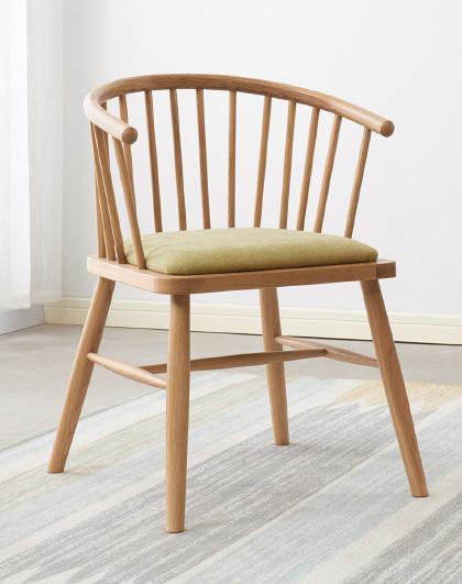 华谊 北欧实木书桌椅子家用靠背木椅原木日式坐具白橡木北欧餐椅