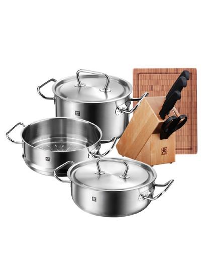 ZWILLING 压力锅炖锅炒锅蒸笼中片刀锅具套装9件套