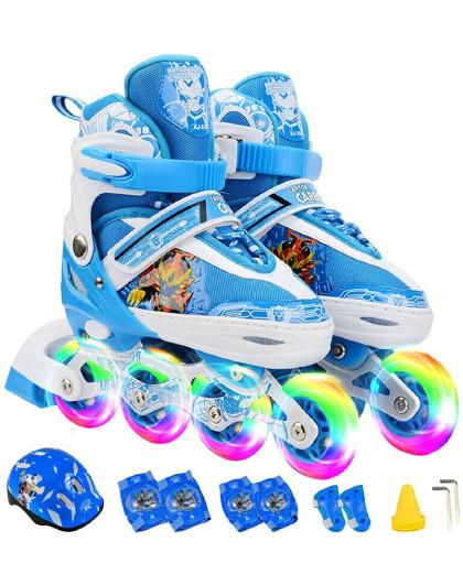 ENPEX 儿童溜冰鞋轮滑鞋儿童闪光可调全闪套装KJ-336