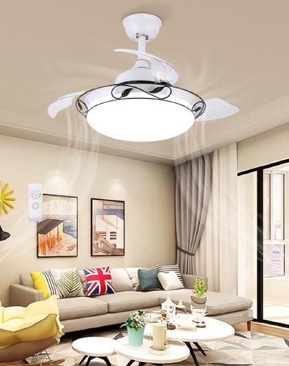 雷士 照明简约中式餐厅吊灯风扇灯吊扇灯隐形扇叶遥控灯具