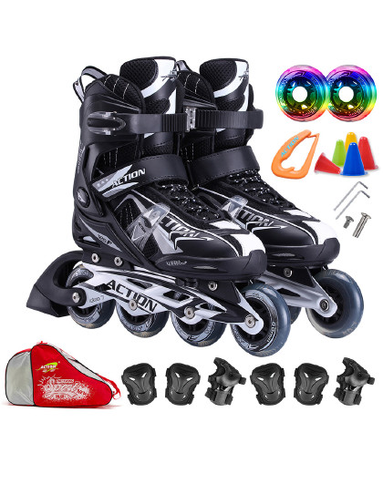 ACTION 溜冰鞋成人轮滑鞋儿童可调套装旱冰鞋滑冰鞋男女直排滑轮鞋