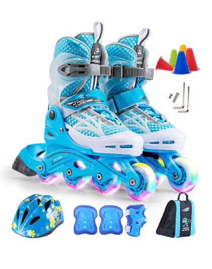 ACTION 儿童溜冰鞋轮滑鞋闪光可调套装直排轮男女滑冰鞋旱冰鞋