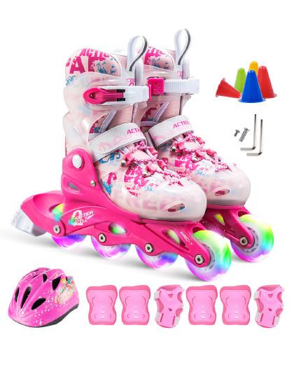 ACTION 溜冰鞋成人 轮滑鞋儿童闪光套装旱冰鞋滑冰鞋男女直排滑轮鞋
