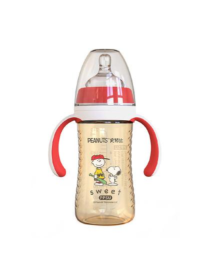 史努比宽口PPSU奶瓶240ml婴儿带手柄宝宝防呛奶瓶 小波浪易握奶瓶