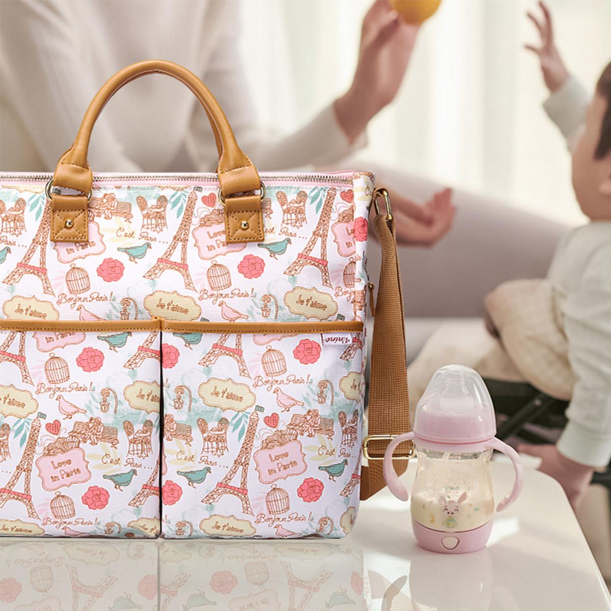 第九城 妈咪包印花大容量多功能单肩斜挎包手提外出妈妈母婴包