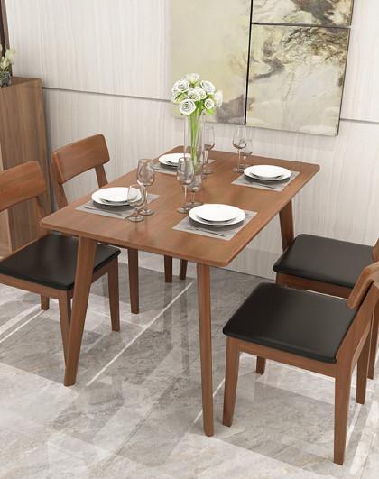 好事达 实木餐桌椅组合北欧日式型饭桌现代简约长方形餐厅家具一桌四椅
