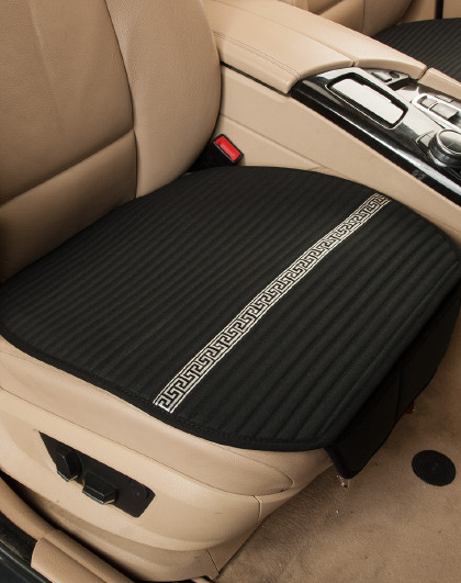 纯亚麻汽车坐垫透气防滑办公椅垫四季通用多选单片三件套汽车座垫