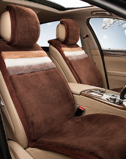 春季纯羊毛加厚长毛汽车座垫保暖欧版汽车坐垫免绑通用五件套