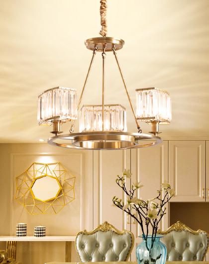雷士 轻奢水晶仿铜北欧后现代简约美式吊灯饰奢华大气餐客厅灯具