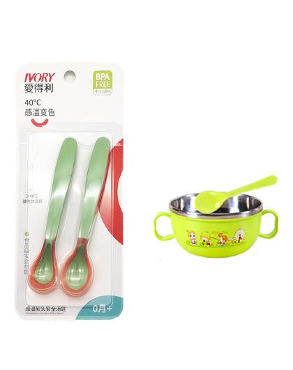 (非软勺)爱得利感温勺辅食勺儿童餐具宝宝吃饭喝水勺汤勺子2个