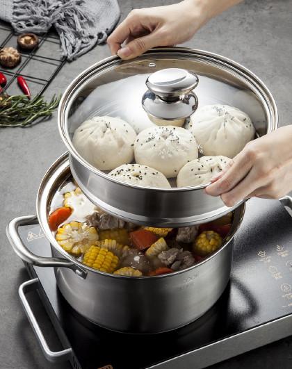 美厨 304不锈钢蒸锅汤蒸锅二层26cm 加厚复底磁炉通用