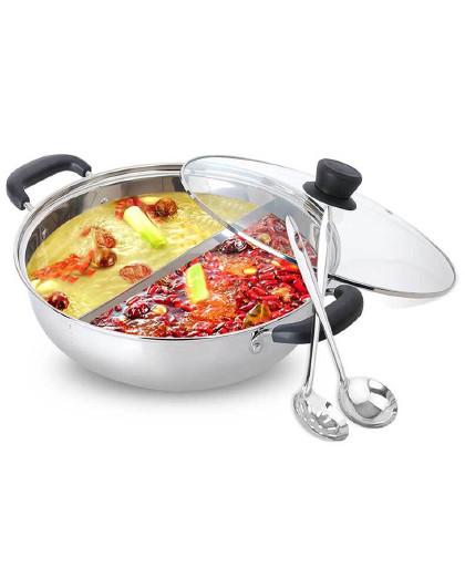 美厨 304不锈钢鸳鸯火锅30cm配一对火锅勺磁炉通用