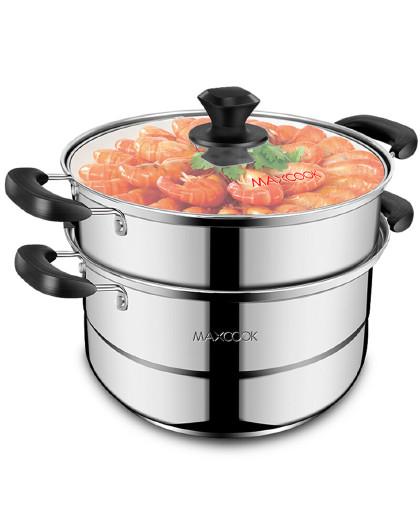 美厨 加厚不锈钢二层蒸锅汤锅 加厚复底汤蒸锅可蒸可煮炉灶通用