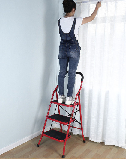 宝优妮 家用梯可折叠易收纳客厅五金家用人字梯子三步登高梯