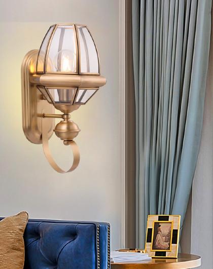 雷士 照明led床头灯卧室客厅过道户外美式铜壁灯简约欧式楼梯墙