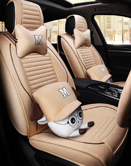 汽车坐垫四季专用别克凯越英朗gt阅郎君威卡通女全包透气亚麻座套