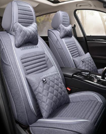 汽车坐垫四季通用全包围亚麻座椅套网红车垫套装全包布艺夏季座套