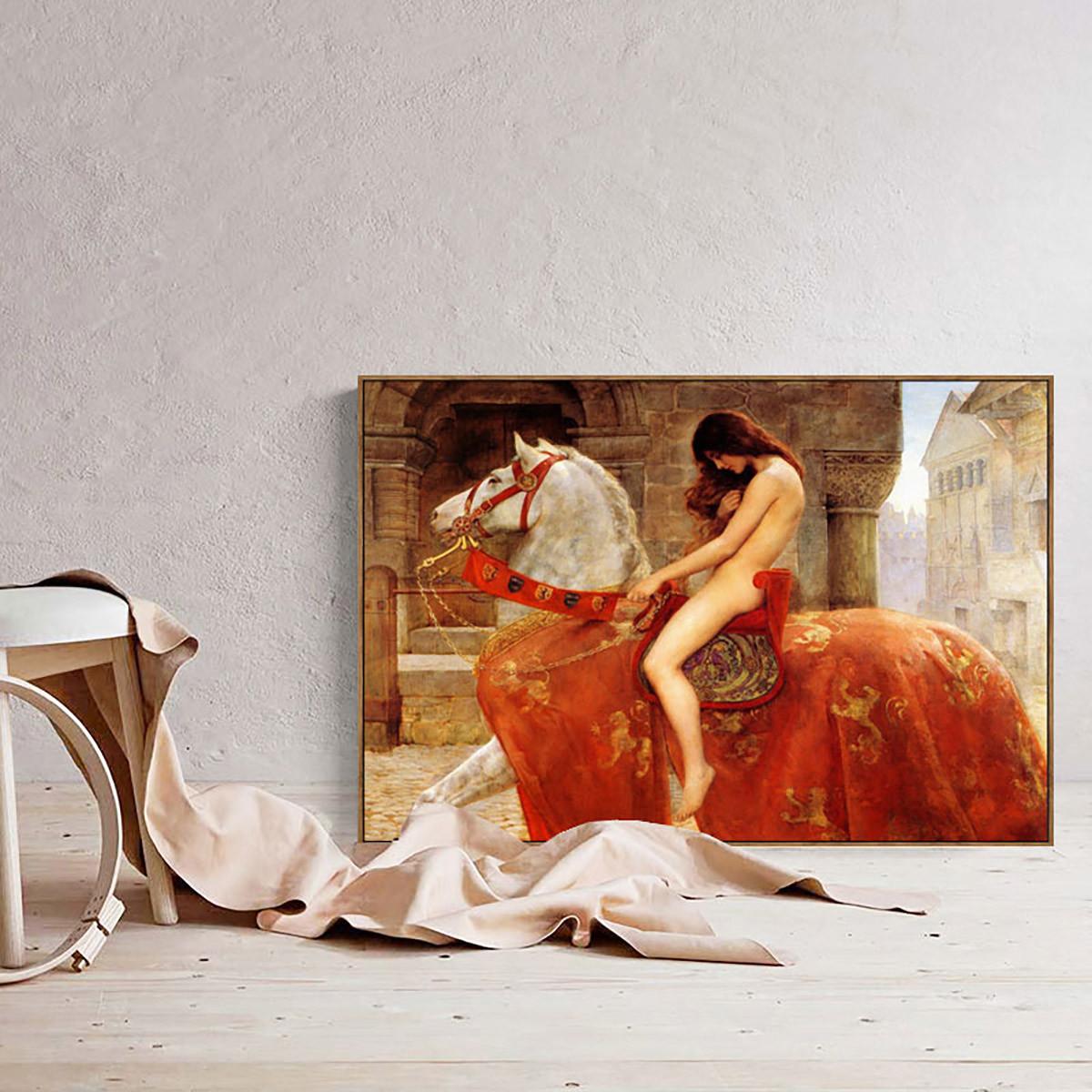 伊佳 卧室装饰画玄关过道壁挂画床头背景墙画马背上的女人高颜值
