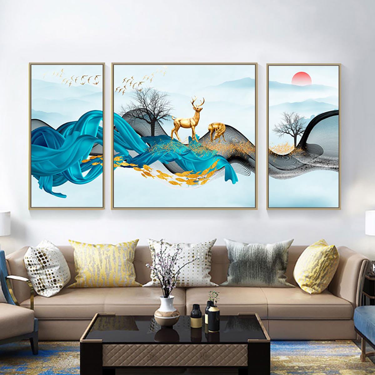 伊佳 客厅装饰画三联画福禄装饰画寓意好壁画沙发背景墙画餐厅画高颜值