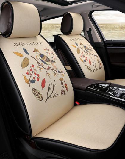 全包仿亚麻四季通用卡通汽车座垫可爱车垫起亚现代名图速腾帕萨特