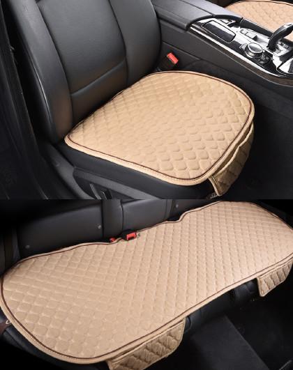 纯亚麻汽车坐垫免绑通用无靠背小三件车座套四季坐垫通用汽车座垫