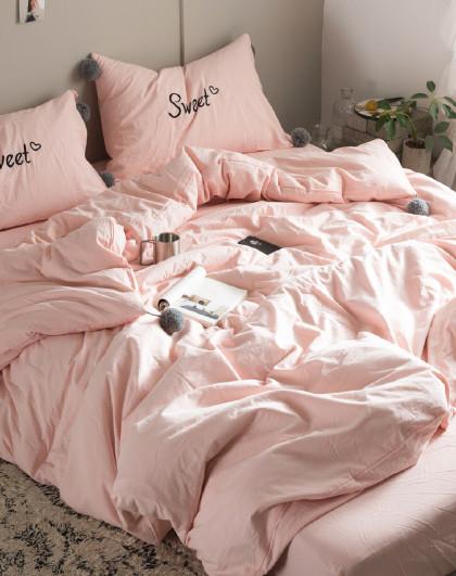全棉水洗棉四角毛球床单/床笠款床上用品纯棉四件套