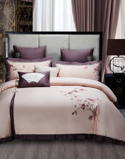 全棉新中式风刺绣套件床单式床上用品纯棉四件套