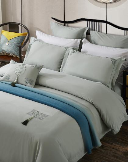 60支高臻密长绒棉新中式绣花全棉床单套件床上用品纯棉四件套